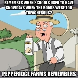 Pepperidge Farm Remembers Meme - remember when schools used to have snowdays when the roads were too treacherous? pepperidge farms remembers