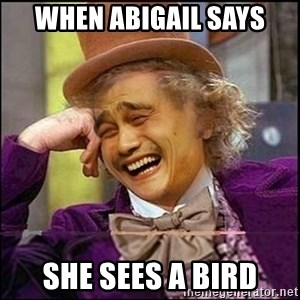 yaowonkaxd - When abigail says she sees a bird