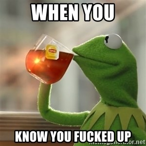 Kermit The Frog Drinking Tea - when you know you fucked up