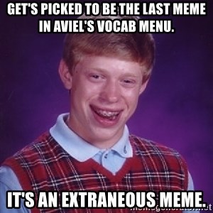 Bad Luck Brian - Get's picked to be the last meme in Aviel's Vocab Menu. It's an extraneous meme.