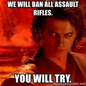 Anakin Skywalker - We will ban all assault rifles. You will try.