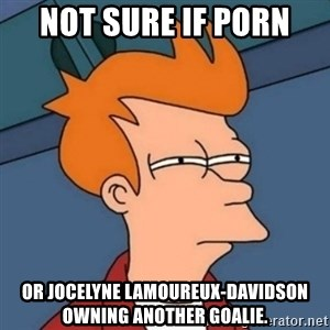 Not sure if troll - not sure if porn  or Jocelyne Lamoureux-Davidson owning another goalie.
