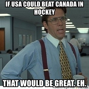 That would be great - If USA could beat Canada in Hockey that would be great. Eh.