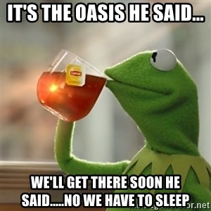 Kermit The Frog Drinking Tea - It's the oasis he said... We'll get there soon he said.....No we have to sleep