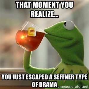 Kermit The Frog Drinking Tea - That moment you realize... You just escaped a Seffner type of drama