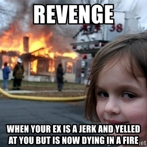Disaster Girl - revenge when your ex is a jerk and yelled at you but is now dying in a fire
