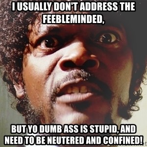 Mad Samuel L Jackson - i usually don't address the feebleminded, but yo dumb ass is stupid, and need to be neutered and confined!