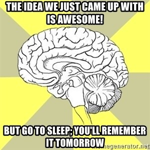Traitor Brain - The idea we just came up with is awesome! But go to sleep; you'll remember it tomorrow