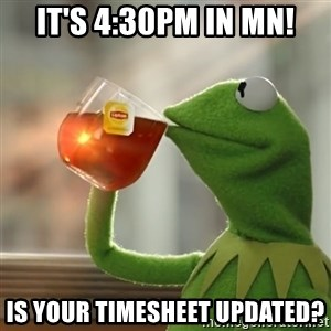 Kermit The Frog Drinking Tea - It's 4:30pm in MN! Is your timesheet updated?