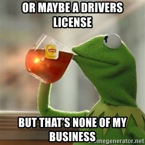 Kermit The Frog Drinking Tea - Or maybe a drivers license  But that's none of my business