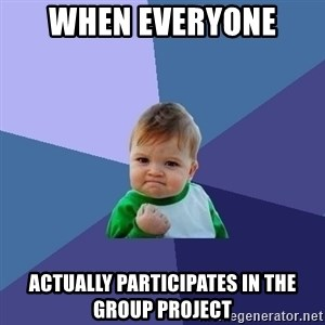 Success Kid - When everyone  actually participates in the group project