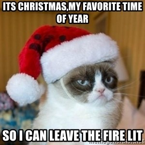 Grumpy Cat Santa Hat - its christmas,my favorite time of year so i can leave the fire lit
