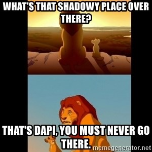 Lion King Shadowy Place - What's that shadowy place over there? That's DAPI, you must never go there.