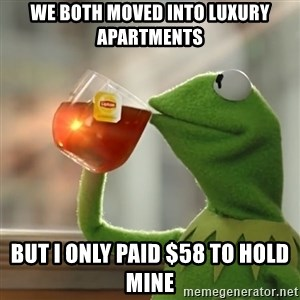 Kermit The Frog Drinking Tea - we both moved into luxury apartments but i only paid $58 to hold mine
