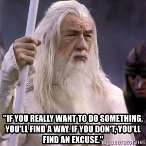 "White Gandalf - ""If you really want to do something, you'll find a way. If you don't, you'll find an excuse."""