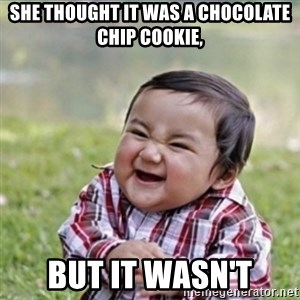 evil plan kid - She thought it was a chocolate chip cookie, but it wasn't