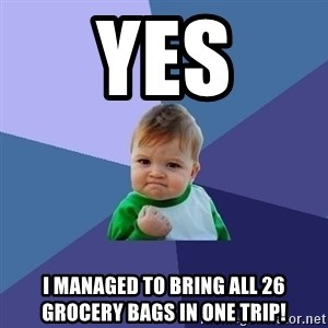 Success Kid - yes I managed to bring all 26 grocery bags in one trip!