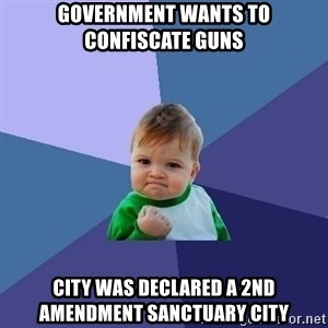 Success Kid - Government wants to confiscate Guns City was declared a 2nd Amendment Sanctuary City