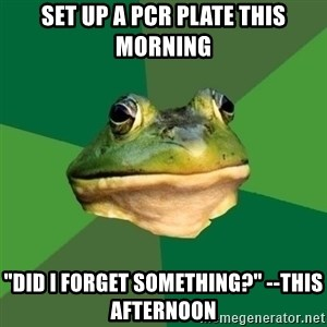 "Foul Bachelor Frog - Set up a PCR plate this morning ""Did I forget something?"" --this afternoon"