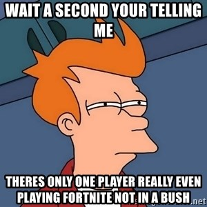 Futurama Fry - Wait a second your telling me  Theres only one player really even playing fortnite not in a bush