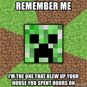 Minecraft Creeper - Remember me I'm the one that blew up your house you spent hours on