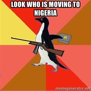 Socially Fed Up Penguin - Look who is moving to Nigeria