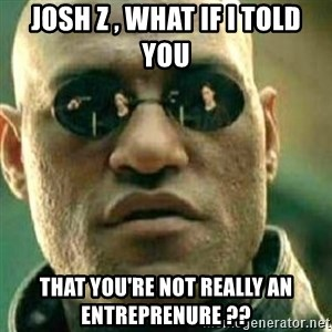 What If I Told You - JOSH Z , WHAT IF I TOLD YOU THAT YOU'RE NOT REALLY AN ENTREPRENURE ??