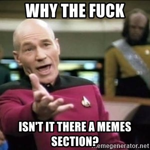 Why the fuck - WHY THE FUCK ISN'T IT THERE A MEMES SECTION?