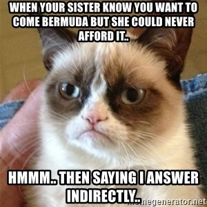 Grumpy Cat  - When your sister know you want to come Bermuda but she could never afford it..  Hmmm.. THEN SAYING I ANSWER INDIRECTLY..