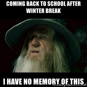 no memory gandalf - Coming back to school after winter break I have no memory of this