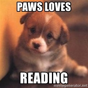 cute puppy - paws loves reading