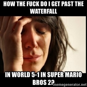 First World Problems - how the fuck do i get past the waterfall in world 5-1 in super mario bros 2?