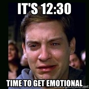 crying peter parker - it's 12:30 time to get emotional