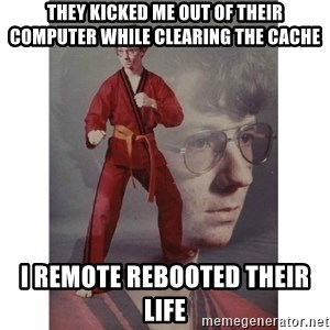 Karate Kid - they kicked me out of their computer while clearing the cache I remote rebooted their life