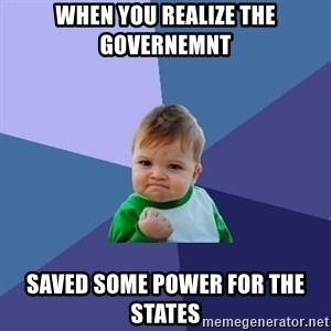 Success Kid - When you realize the governemnt Saved some power for the states