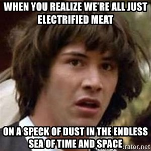 Conspiracy Keanu - When you realize we're all just electrified meat  On a speck of dust in the endless sea of time and space