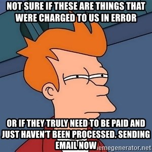 Futurama Fry - not sure if these are things that were charged to us in error or if they truly need to be paid and just haven't been processed. Sending email now