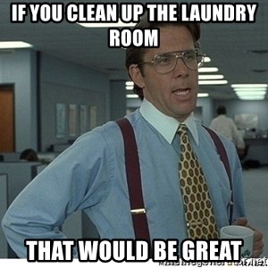 That would be great - If you clean up the laundry room That Would be great