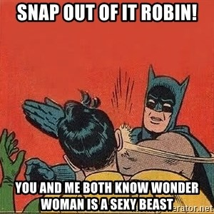 batman slap robin - snap out of it robin! you and me both know wonder woman is a sexy beast