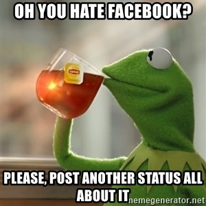 Kermit The Frog Drinking Tea - oh you hate facebook? please, post another status all about it