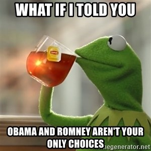 Kermit The Frog Drinking Tea - What if I told you obama and romney aren't your only choices
