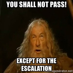 Gandalf You Shall Not Pass - you shall not pass! except for the escalation