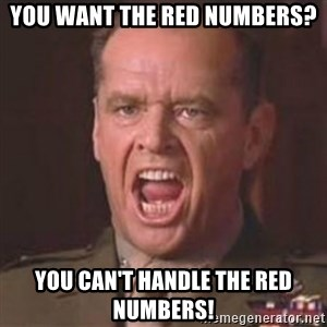 Jack Nicholson - You can't handle the truth! - You want the red numbers? You can't handle the red numbers!