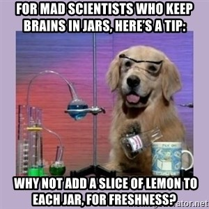 Dog Scientist - For mad scientists who keep brains in jars, here's a tip:  why not add a slice of lemon to each jar, for freshness?