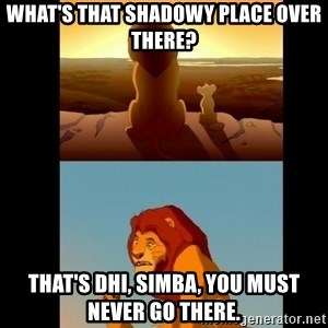 Lion King Shadowy Place - What's that shadowy place over there? That's DHI, Simba, you must never go there.