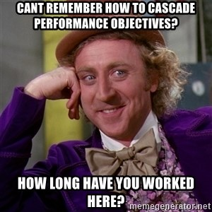 Willy Wonka - Cant remember how to cascade performance objectives? How long have you worked here?