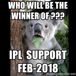 Koala can't believe it - who will be the winner of ???                         IPL  Support Feb-2018