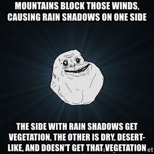 Forever Alone - Mountains block those winds, causing rain shadows on one side The side with rain shadows get vegetation, the other is dry, desert-like, and doesn't get that vegetation