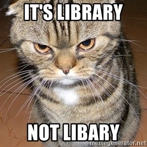 angry cat 2 - It's Library  Not Libary