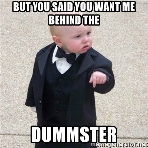 Mafia Baby - but you said you want me behind the  dummster
